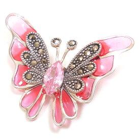 ブローチ シルバー925 蝶々 チョウ ピンク・キュービックジルコニア マーカサイト レディース