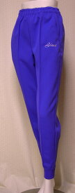 【レディス ホッピング ジャージパンツ】【国内生地&国内縫製】吸汗速乾・爽快感素材使用、左右切込ポケット、左ポケット部分ロゴししゅう、裾リブとジップ付きのジャージパンツ<パープル(ロイヤルブルー):2L>