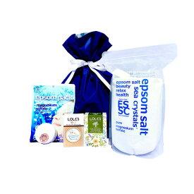 プレゼント ギフト 入浴剤 エプソムソルト2.2kg・エプソムパック10枚入・エプソムソルトクリーム30g ・石鹸(オリーブオイル100%・BABY SOAP 泡だてネット付) 5点セット