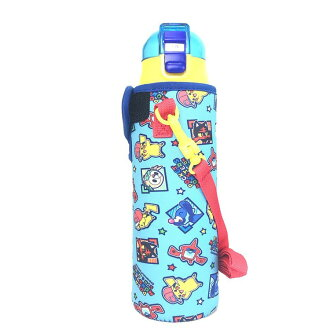 Child use with the belt with the Pokemon sun & moon Pocket Monster Pikachu water bottle direct drink string 580 ml of stainless steel bottles with the cover super light weight with direct bottle 580 ml bottle cover