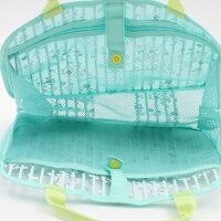 【バッグ花】スパバッグM【フラワープレアリーブルー/】メッシュ水辺風呂ジム温泉プールブルー旅行お出かけ持ち運びプレゼント