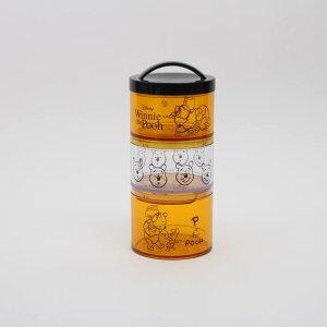 【お弁当箱 プーさん】ボトル型3段ランチボックス【POOH honey/LRT3C】スリム 縦長 縦型 タテ型 クリア素材 弁当箱 三段 組み合わせ 積み重ね 保存容器 お菓子 小物入れ 便利 かわいい おしゃれ