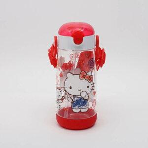 【子供用水筒 ハローキティ】ワンプッシュストローボトル【ハローキティスケッチ/PDSH5】子ども用 ストロータイプ ストロー付き 水筒 プラスチック 軽い 軽量 透明 洗いやすい お弁当 ラン