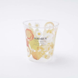 【コップ おしゃれ】ガラスタンブラー【ハーバリウムイエロー/GT1】耐熱ガラス ガラスコップ 耐熱コップ 耐熱グラス ガラス製 耐熱性 コップ グラス 軽い 軽量 可愛い かわいい 花柄 黄色 温