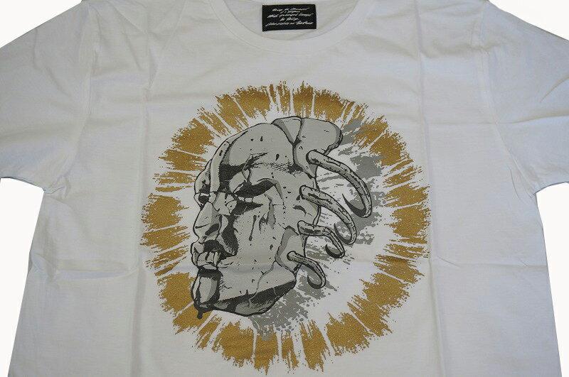 ジョジョの奇妙な冒険×ultra-violence (ウルトラバイオレンス)覚醒石仮面 Tシャツ 白(L)/JOJO映画