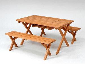ガーデンテーブルセット カフェテーブルセット バーベキュー木製テーブル&ベンチ3点セット(コンロスペース付) 杉材使用 ガーデン家具