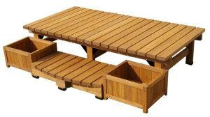 ガーデンチェア 縁台 ウッドデッキ デッキ縁台ベンチ 大サイズ4点セット 杉材 ガーデンベンチ セット品 ベランダ椅子 ガーデンファニチャー 組立式
