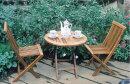 ガーデンテーブルセットカフェテーブルセットミニ折りたたみ式テーブル&チェア3点セットチーク材テーブルチェア(椅子)2脚完成品