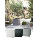 プランター 大型 植木鉢 長方形 ファイバークレイ 鉢 おしゃれ ベータ 幅360×奥行360×高さ360 ホワイト ブラック グ…