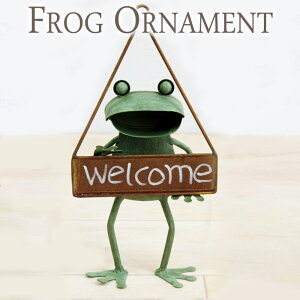 ガーデンオーナメント インテリア雑貨 壁飾り ブリキ製 カエル 蛙 かえる ハンキング WELCOME ウェルカム シングル アイアン ドアプレート インテリア レトロ アンティーク おしゃれ お祝い 新