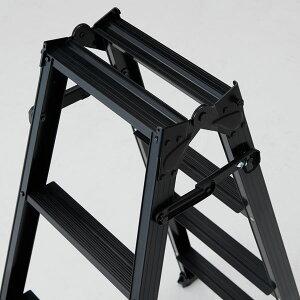 脚立折りたたみおしゃれアルミ4段はしご兼用脚立S-TEP12H1100×W512×D766一台単位ブラック軽量作業道具作業台ハシゴ梯子台踏み台足場足場台建築現場洗車DIY