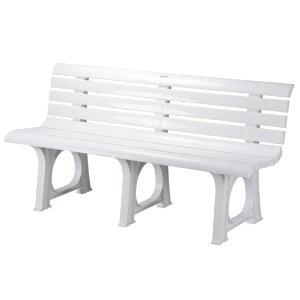 ガーデン ベンチ Lベンチ 2人掛け 椅子 幅145.5×奥行52×高さ73.4cm ポリプロピレン樹脂 ホワイト 白 1脚単位 軽量 屋外 雨ざらし 組み立て式 おしゃれ ガーデニング 庭づくり 家具 ファニチャー
