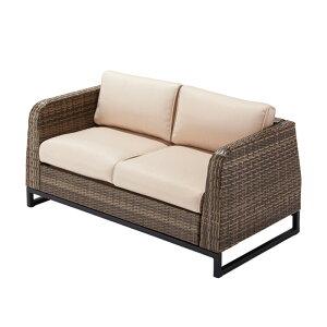 ガーデンファニチャー 椅子 ソファー サハラ ソファ ダブル2 人工ラタン 2人掛け 幅1420x奥行700x高さ630x座面高さ300mm 肘掛け クッション付 1セット単位 組立品 おしゃれ ガーデン ベランダ テラ