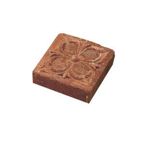 レンガ 煉瓦 ブロック 敷き 敷石 アンティークブリックス アートレリーフ フラワー レッド 並形半平 単品 庭 花壇 diy ガーデニング 石材 外壁 外構 エクステリア おしゃれ