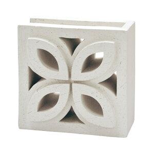 ブロック 塀 アプローチ エントランス せっき質無釉ブロック ポーラスブロック200コーナー 190Fタイプ 白土(配筋溝あり・1面フラット) 1個単位 屋外壁 diy