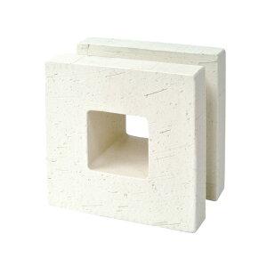 ブロック 塀 アプローチ エントランス せっき質無釉ブロック ポーラスブロック150 白土 A(配筋溝あり・4本角溝) 1個単位 屋外壁 diy