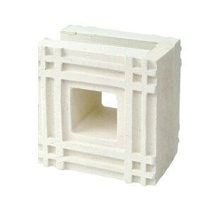ブロック 塀 アプローチ エントランス せっき質無釉ブロック ポーラスブロック150コーナー 白土 F(配筋溝あり・1面フラット) 1個単位 屋外壁 diy
