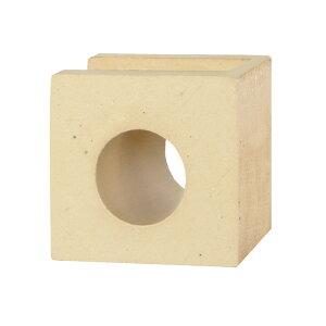 ブロック 塀 アプローチ エントランス せっき質無釉ブロック ポーラスブロック100コーナー ハナワ サークルA(配筋溝あり・1面フラット) 1個単位 屋外壁 diy