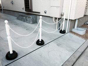 駐車場ポールチェーンフェンス駐車場ポールチェーンポールチェーンスタンド2段フックホワイト本体3本セット+チェーン付き(3種類から選べる)