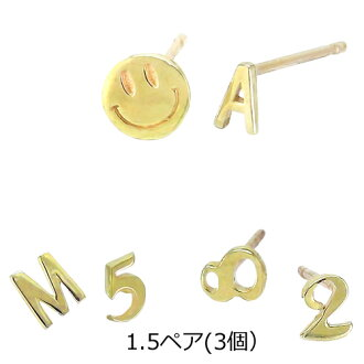 Initial pierced earrings k10 yellow gold number pierced earrings number alphabet English letter heart star star smile one diamond 10 second baseman pierced earrings present Lady's accessories white day present Kim