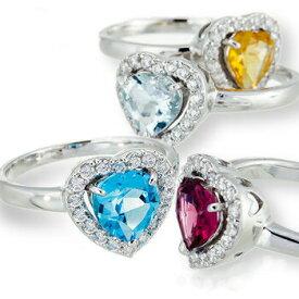 プラチナ900 pt900 カラーストーン ハート ダイヤモンド リング 0.26ct 誕生石 指輪 レディース ジュエリー アクセサリー プレゼント ギフト