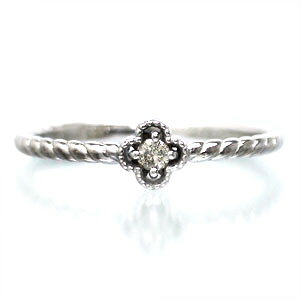 ピンキーリング ダイヤモンド リング k10ゴールド フラワー 指輪 レディース ジュエリー アクセサリー プレゼント ギフト