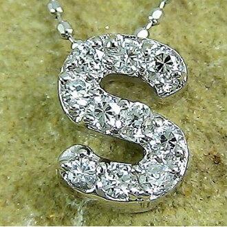 "Kyg ""S"" diamond alphabet K18 gold jewelry name initials name"