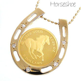 Auc eternal rakuten global market horseshoe necklace gold coin horseshoe necklace gold coin pendants k18 diamond 005 ct chain 40 cm 18 k gold womens shop selling mozeypictures Gallery