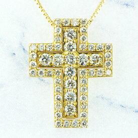 ネックレス メンズ クロス ダイヤモンド 1ct ペンダント 十字架 18金 k18 18k イエローゴールド ピンクゴールド ホワイトゴールド 3way 記念日 レディース ジュエリー アクセサリー プレゼント ギフト ホワイトデー SSS