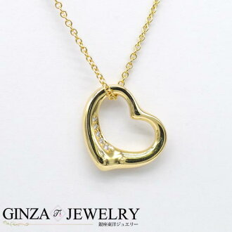 TIFFANY Tiffany K18 yellow gold open heart diamond necklace 41cm