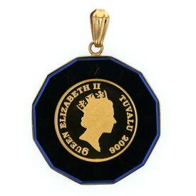K18YG ?24 イエローゴールド ネックレストップ コイン ツバル金貨 1/25oz 2006年 フクロウ 青 ローマ文字枠【新品仕上済】【af】【中古】