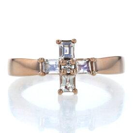 4℃ ヨンドシー K18PG ピンクゴールド リング ダイヤモンド ブルームーンストーン クロス 十字架 指輪 12号【新品仕上済】【pa】【中古】