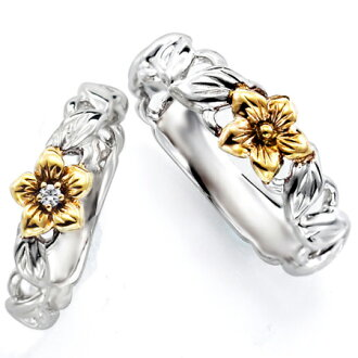 E Wedding Bands.Pairing Set Of 2 Wedding Wedding Band Hawaiian Jewelry Marriage K18 White Gold Yellow Gold Diamond Ring S Nanikii M0726v