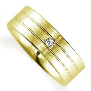 ペアリング(女性用) 結婚指輪 マリッジリング 鍛造製法 K18イエローゴールド ダイヤモンドリング 《Solid M0592L》 【刻印無料 ケース付き 送料無料】 【RCP】【B】