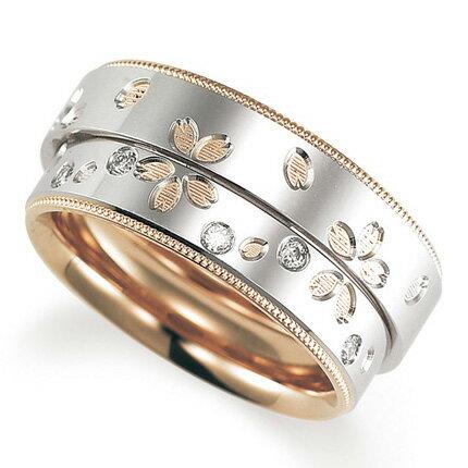 ペアリング(2本セット) 結婚指輪 マリッジリング 鍛造製法 プラチナ900/K18ピンクゴールド ダイヤモンドリング 《Solid M2078WR》 【刻印無料 ケース付き 送料無料】 【RCP】 【532P17Sep16】