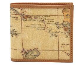 PRIMA CLASSE  ≪プリマクラッセ≫ W103 -6000 (#74) ふたつ折り財布  世界地図柄  ブラウン PVCx レザー(画像1、2枚目の柄目をお送りします。) 二つ折財布 【送料無料】【★セール価格】