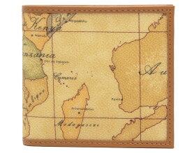 PRIMA CLASSE  ≪プリマクラッセ≫ W103 -6000 (#83) ふたつ折り財布  世界地図柄  ブラウン PVCx レザー(画像1、2枚目の柄目をお送りします。) 二つ折財布 【送料無料】【★セール価格】