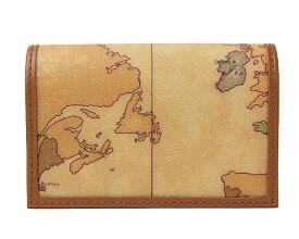 PRIMA CLASSE  ≪プリマクラッセ≫ W303 -6000 (#68) カードケース 名刺入れ  世界地図柄  ブラウン PVCx レザー (画像1、2枚目の柄目をお送りします。)  【★セール価格】