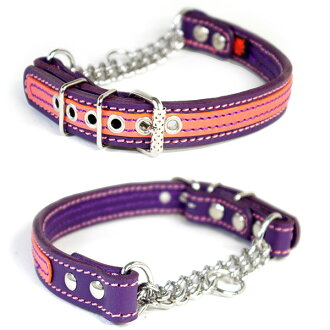 Leather studs half choker (head circumference 38cm) for the outlet medium size dog