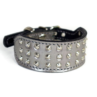 A leather collar for イタグレミニピン: Small Type G2-008 (4mm flat apex tack) silver