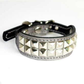 A leather collar for イタグレミニピン: Small Type G2-S2R (10mm corner tack) silver