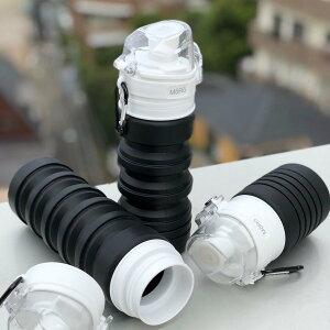 ジャパラ 水筒 500ml 直飲み ワンタッチ サイズダウン コンパクト 収納 軽量 スポーツ AQUA_hack