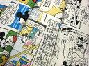 (単色1m以上購入でメール便 送料無料サービス中 ) ディズニー コミック 大柄 ミッキー ミニー プルート 生地 アメコミ ミッキーマウス disney レトロ