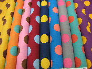 6 candy party レトロ ビッグ ドット 2012 新色 ( 生地 水玉 綿100% シーチング キャンディーパーティ ) 再入荷なし