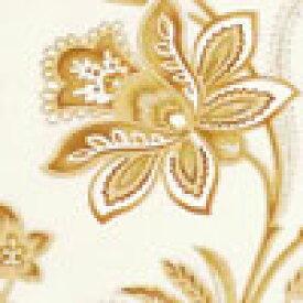 MS-2936 お花の紋章の花綱 ライトブラウン/ベージュ コットンプリント生地