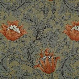 威廉·莫裏斯MO-2138威廉·莫裏斯秋牡丹柳丁/黄褐色棉布印花面料