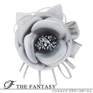 コサージュ 入学式 コサージュ フォーマル 2way ヘッドドレス 椿 花 コサージュ結婚式 髪飾り fh12043gy