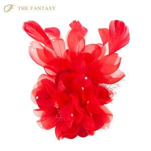 コサージュ 赤 コサージュ フェザー 髪飾り 羽毛 2way ヘッドドレス fh19152rd