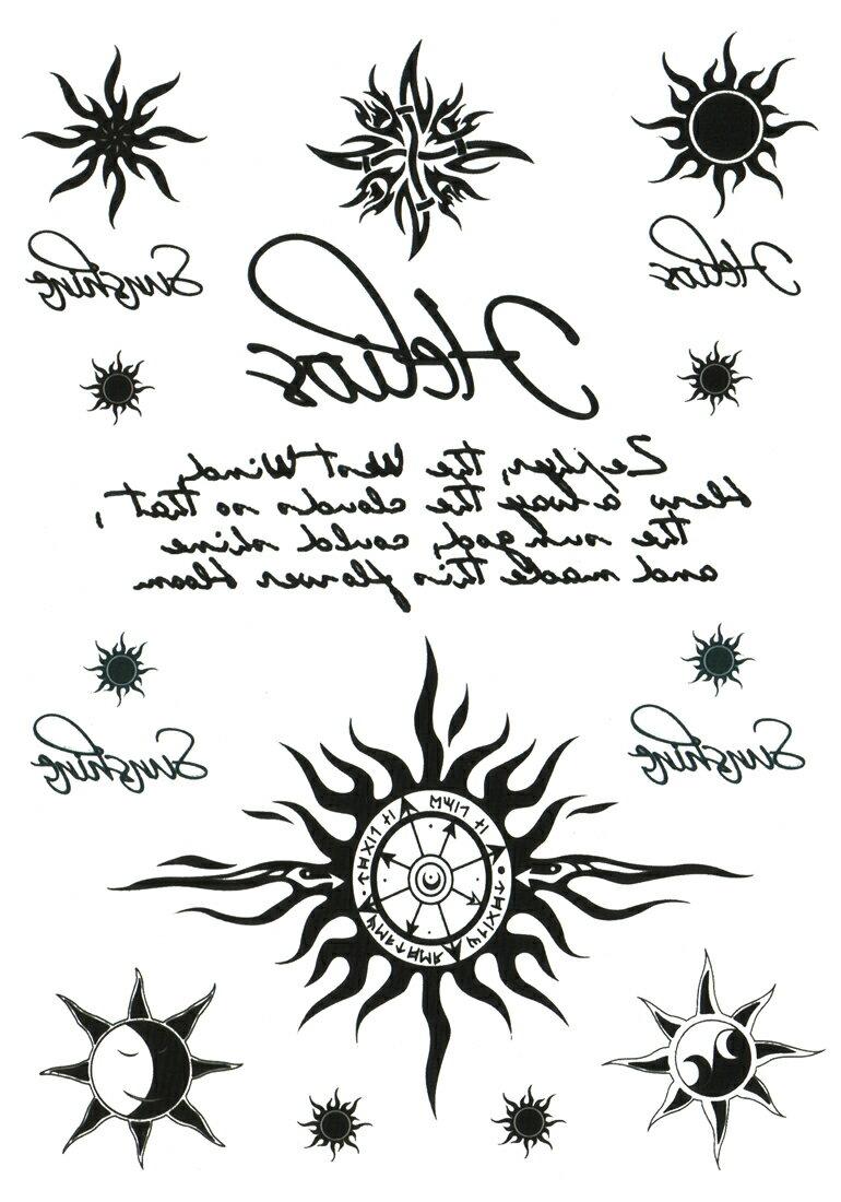 (ファンタジー) TheFantasy タトゥーシール タトゥーシール 太陽 トライバル 文字 hb061 【中型・A5】