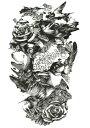 (ファンタジー) TheFantasy タトゥーシール タトゥーシール 薔薇 鳥 hb089 【中型・A5】
